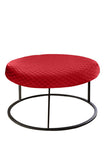 Round Red Diamond Pouf Coffee-Table Cover