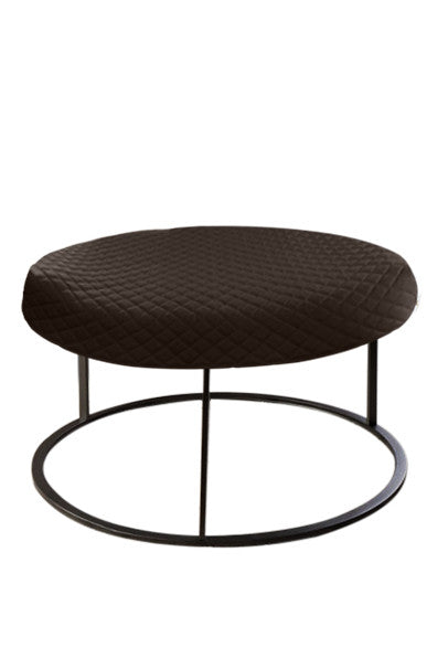 Round Brown Diamond Pouf Coffee-Table Cover