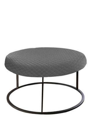 Round Gray Diamond Pouf Coffee-Table Cover