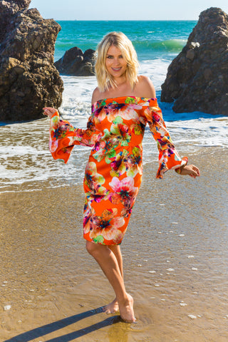 Sexy Orange Off shoulder Floral Beach dress