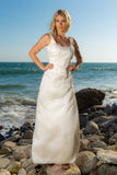 White Thin Strap Beaded Wedding Dress