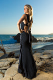 Fitted mermaid Black dress, Open Back