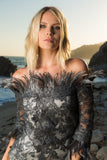 Feathers, Evening Gown, evening dress, Lace Feather, Emmys Awards, Los Angeles, Bustier, Silk Long Skirt,