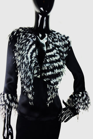 Black Silk Blouse with Zebra Feathers