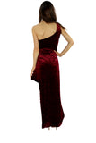 One-Shoulder Stretch-Wrinkle-Velvet Dress