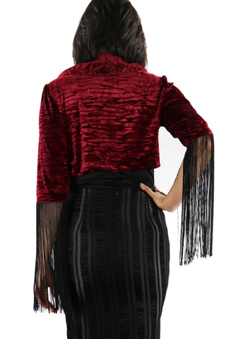 Wrinkle Velvet Bolero and Frindge Sleeves
