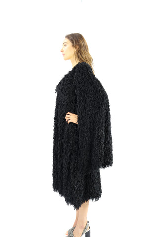 One-Shoulder Trumpet Sleeve Organic-Feathers Shag Black Dress