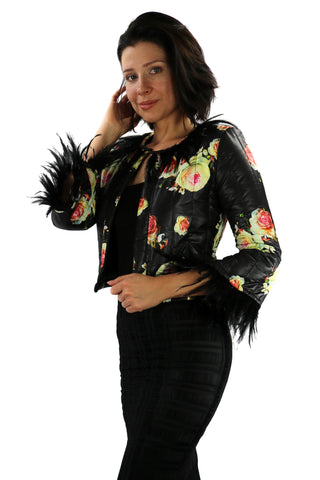 Vest Capitone Black and Print Flowers & Feathers