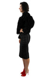 Organic-Feathers Shag Wt Puffy Sleeves Black Bolero