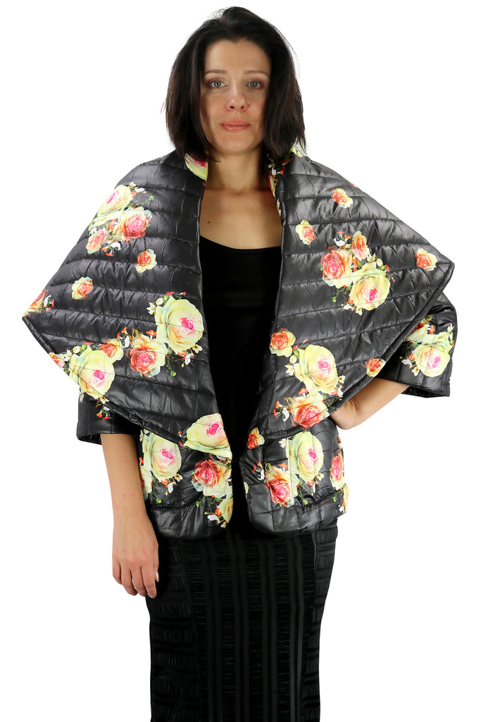 Jacket Capitone Black and Print Flowers