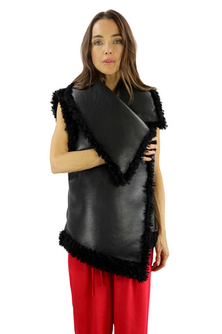 Italian Supper Soft Organic Leather Vest and Boucle Fur Trim