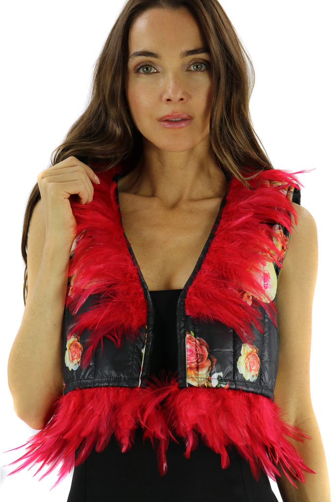 Bolero Capitone Black and Print Flowers & Red Feathers