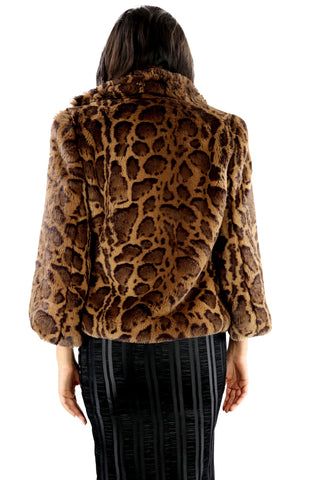 Organic-Fur Coat Jaguar & Baby Blue Silk Lining