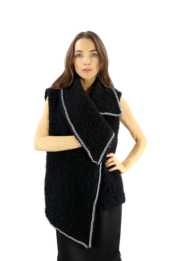 Italian Organic-Wool Boucle Vest & Chain Trim