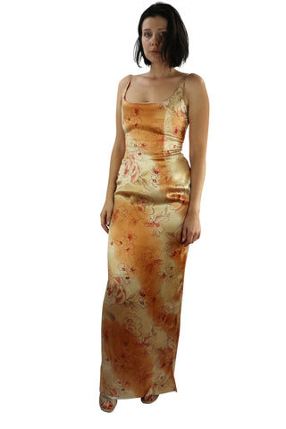 Long Silk Dress Peach Flower