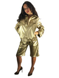 Organic-Leather Jacket and Shorts Set Gold