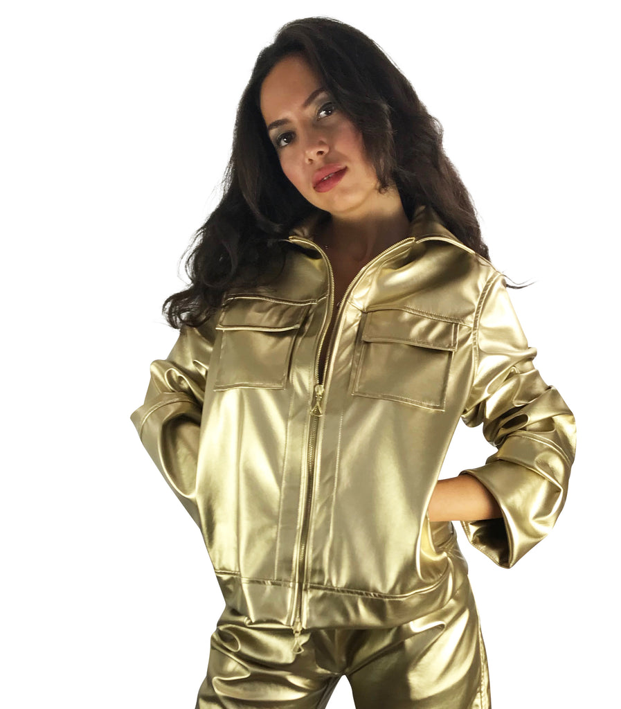 Organic-Leather Jacket Gold