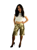 Organic-Leather Shorts Gold