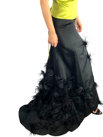 Long Black Skirt W/Feathers and Long Train