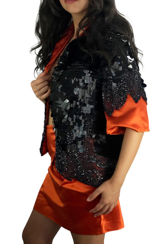 Black Large Round Payette Sequins Jacket and Orange Silk