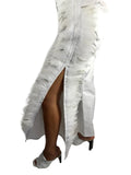 White Denim Pants with Fancy Feathers on Both Sides Open