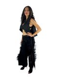 Black Denim Pants with Fancy Feathers on Both Sides Open