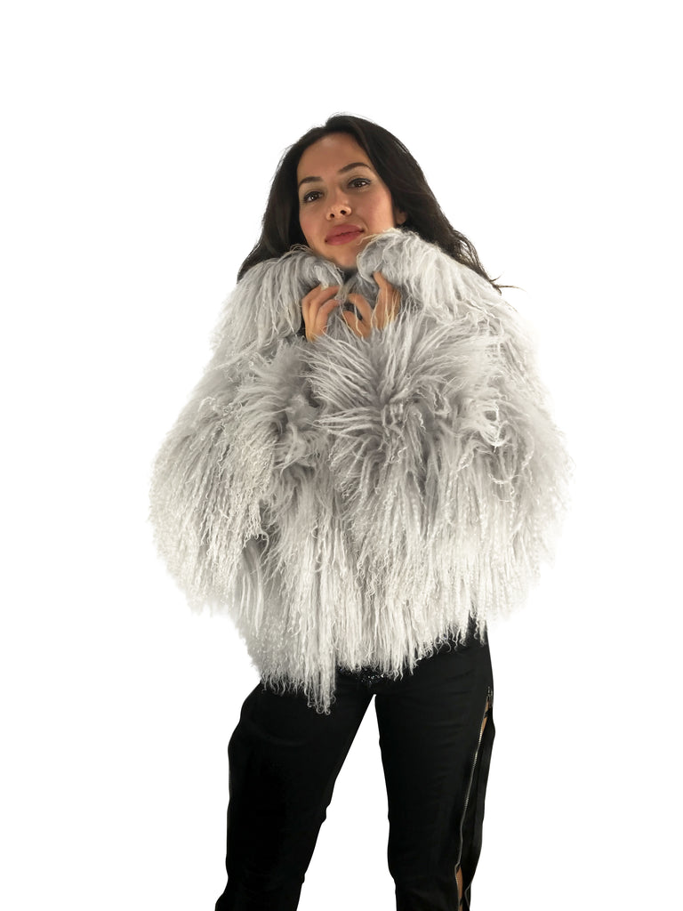 Mongolian Fur Bolero Gray/white Cropped Jacket