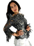 evening dress, Lace Feather, Emmys Awards, Los Angeles, Bustier, Silk Long Skirt, Feathers hand painted