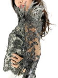 evening dress, Lace Feather, Emmys Awards, Los Angeles, Bustier, Silk Long Skirt,