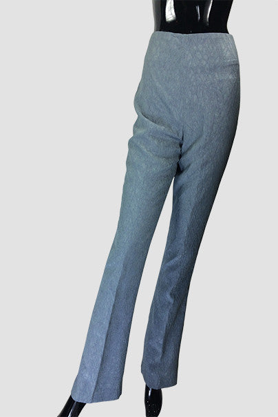 Silver Textured Slim Pants