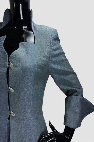 High Collar Textured Long Jacket
