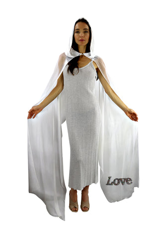 White Hooded Silk Chiffon Cape-Capuchon with LOVE Silver Color Beads