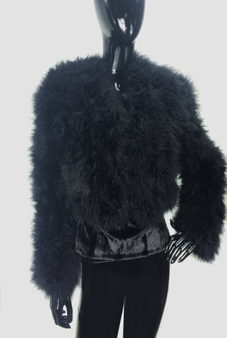 Maribou Feathers Black Bolero - Cropped Jacket