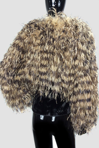 Ostrich Feathers Bolero Camel & Brown - FashionHomeGift