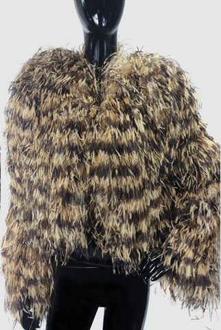 Ostrich Feathers Bolero Camel & Brown, Cropped Jacket