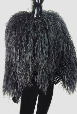 Ostrich Feathers Bolero Black Cropped Jacket