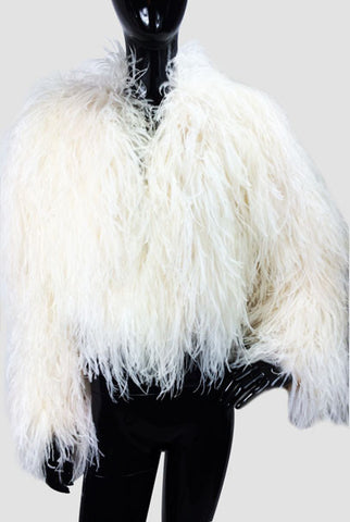 Ostrich Feathers Bolero Off White Cropped Jacket