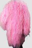 Ostrich Feathers Long Pink Coat