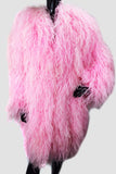 Long Pink Ostrich Feathers Coat