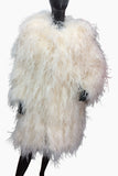 Ostrich Feathers Long Coat Off White