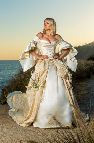 Couture Ball Gown - Medieval French Brocade & Italian Silk