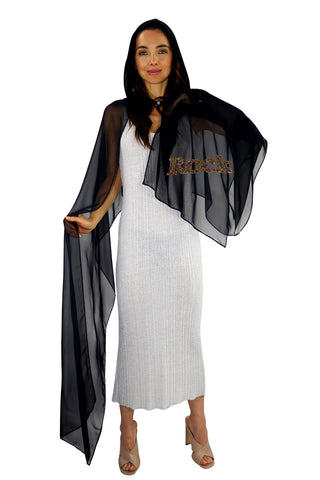 Black Hooded Silk Chiffon Cape-Capuchon with ROCK Multi Colors Beads
