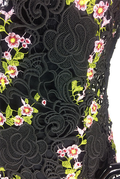 Black Transparent lace dress with pink/floral design