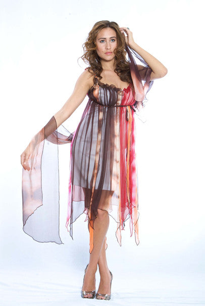 Foulard Silk Red Brown Orange - FashionHomeGift