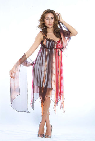 SAMPLE SALE Foulard Silk Red Brown Orange Dress