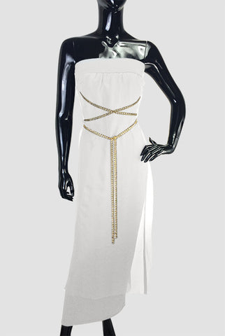 Silk Jersey Dress and Gold Chain