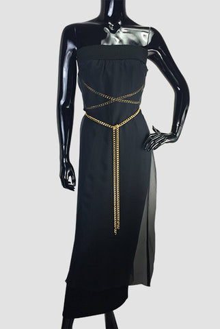 Silk Jersey Dress & Gold Chain