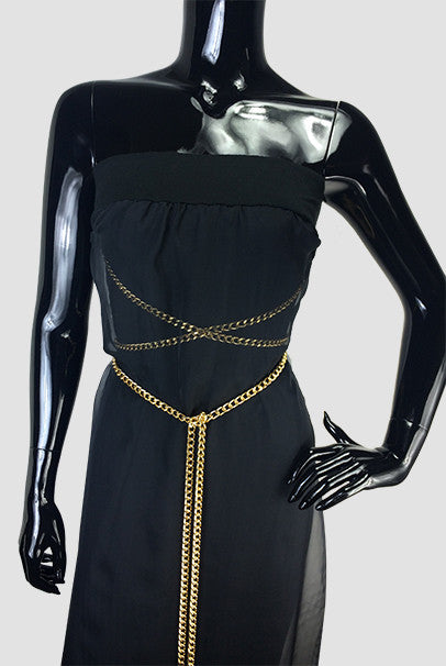 Black Dress & Gold Chain - Caroline Hallak