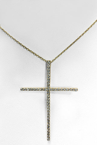 Diamonds Cross & Yellow Gold Pendant