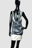 Italian Beaded Jewel Strap dress with Silver/Gray Raunch Silk